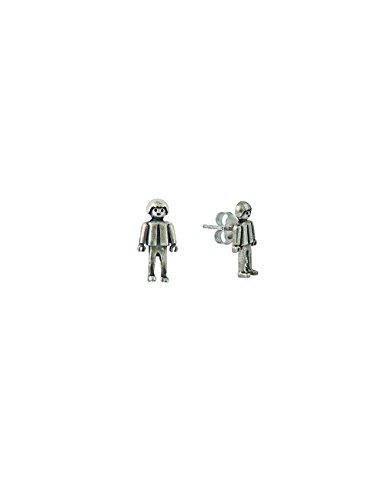 Playmobil - Pendientes Cuerpo'Niño Playmobil'. Plata De Ley. Alto Pieza: 16 Mm