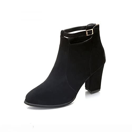 Neoucdy Botas para mujer, botas de tobillo de piel de ante impermeable, hebilla de cinturón de tacón medio, tacón redondo, con cremallera, botas cortas, Black, 39 EU