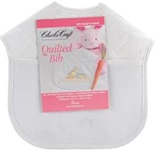 Charles Craft Bulk Buy Quilted Baby Bibs 9 inch x 9 inch White with Solid White Trim BB4992-6750 (2-Pack)