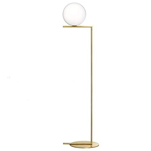 HUAHUA Lámpara de piso Oro Nordic Chrome simple bola de cristal Lámpara de pie Lámpara de pie creativa Salón Dormitorio Estudio manera de la decoración de la lámpara de piso (Body Color : H 165cm)