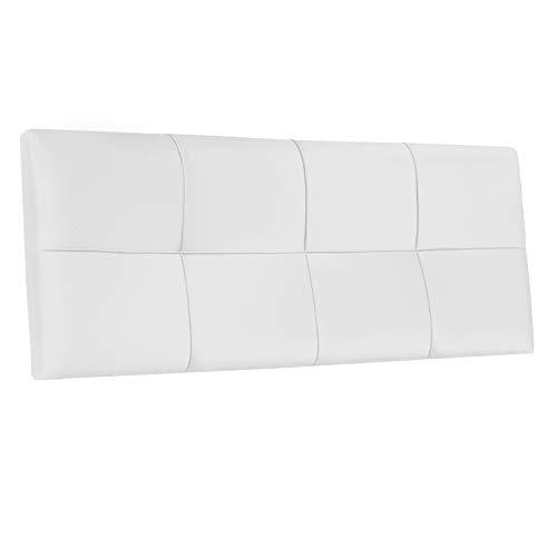 Square, Cabecero Acolchado de Cama de Dormitorio de Matrimonio, Cabezal, Acabado en Simil Piel Color Blanco, Medidas: 160 cm (Largo) x 55 cm (Alto) x 4 cm (Fondo)