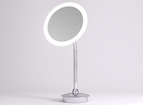 LED Kosmetikspiegel Talos Kos Ø 21,6 cm - Rasierspiegel mit 5-Fach Vergrößerung - flexiblem Schwanenhals - zweistufigem Lichtfarbenwechsler (warmweiße/kaltweiße Lichtfarbe)