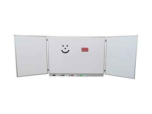 OrgaScout Klapptafel Set - 60cm x 90cm / 60cm x 180cm - beschreibbare Magnettafel weiß mit lackierter Whiteboard Oberfläche - inklusive Tafelwischer, 10 schwarzen Magneten und 4 farbigen Boardmarkern