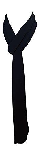 Annys Skinny Silky Solid Tie Scarf (Black)