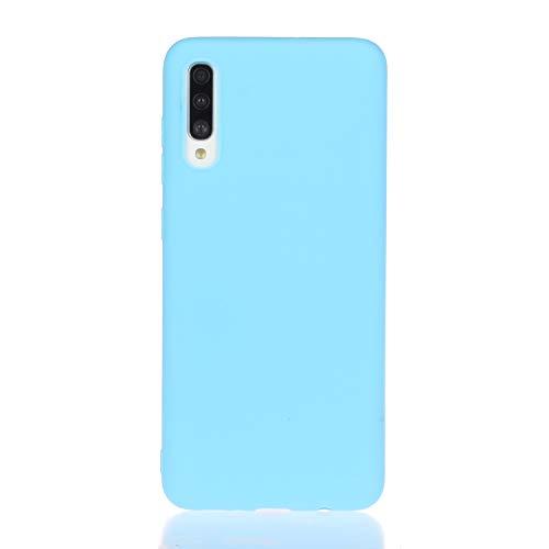 DiaryTown Compatible con Funda Samsung Galaxy A30S / A50 Silicona Blando, Carcasa Galaxy A50 Funda Resistente Dibujos Color Puro Motiv Cover Ultrafina Case Antigolpes, Azul Blue