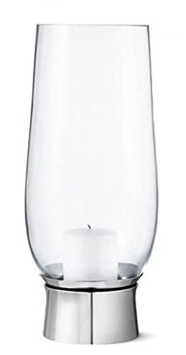 Georg Jensen - Windlicht, kandelaar - Lumis Hurricane - glas, roestvrij staal - hoogte 33 cm - D 17 cm