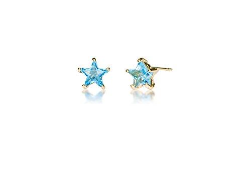 Orecchini a bottone in acciaio inox chirurgico ipoallergenico, per bambine/donne, con zircone cubico, a forma di stella e acciaio inossidabile, colore: December Gold Plated, cod. E8005
