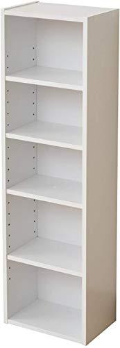 山善 本棚 幅25.5×奥行17×高さ90cm 5段 スリム 棚板高さ調節可能 大容量 組立品 ホワイト CCDCR-2690(WH)