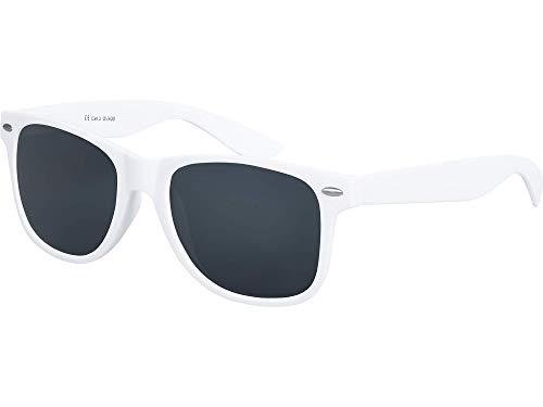 Balinco Hochwertige Nerd Sonnenbrille Rubber im Retro Stil Vintage Unisex Brille mit Federscharnier - 96 verschiedene Farben/Modelle wählbar (Weiß - Smoke)
