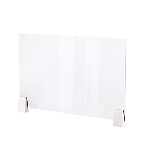 Haluoo 2PC Clear Sneeze Guard Acrylic Freestanding Protective Barrier Plexiglass Safety Protection Shield for Checkout Reception Counter Desk Cashier Employers Workers Customers 50X32Cm