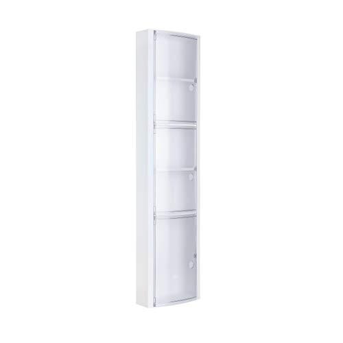 Tatay Armario plástico Vertical, Color Blanco, 3 Puertas sin pomos en Color glacé, y 2 estantes Interiores Removibles. Medidas 22x10x90,5 cm