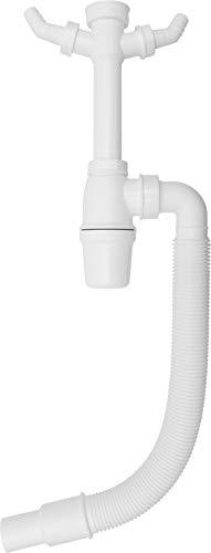 Cornat Tassen-Geruchsverschluss für Spültische - 1 1/2 Zoll - Mit flexiblem Abangsrohr & Geräteanschlüssen - Hergestellt aus robustem Kunststoff - Made in Germany Qualität / T353306