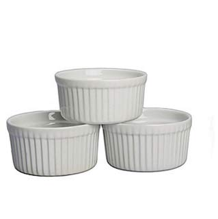 "K International 2 Ounce Porcelain Ramekins | Classic Fluted Design, Soft White Color, Oven, Microwave, and Dishwasher Safe, 2.6"" x 1, Includes Three (3) Small Ramekin Dishes"