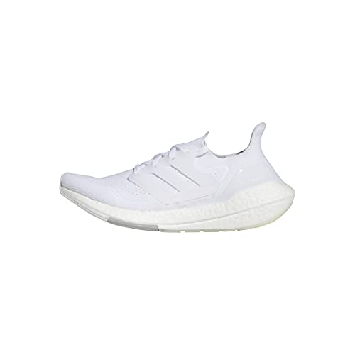 adidas womens Ultraboost 21 Running Shoes, White/White/Grey, 8.5 US