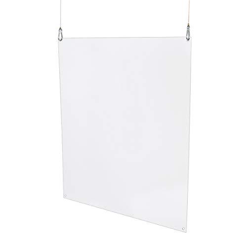WANDKINGS Spuckschutz Hängend, zum Aufhängen, für Deckenmontage, zur hängenden Montage von Decke, Hustenschutz Niesschutz Virenschutz, Antibakteriell Glasklar, 100 x 50 cm