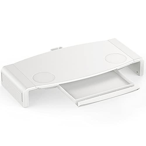 seenda Supporto Monitor Scrivania,Supporto Schermo PC,Riser per Monitor Pieghevole, per Computer & Stampante & TV, Lunghezza Regolabile con Grande Cassetto e Gestione dei Cavi(Bianco)