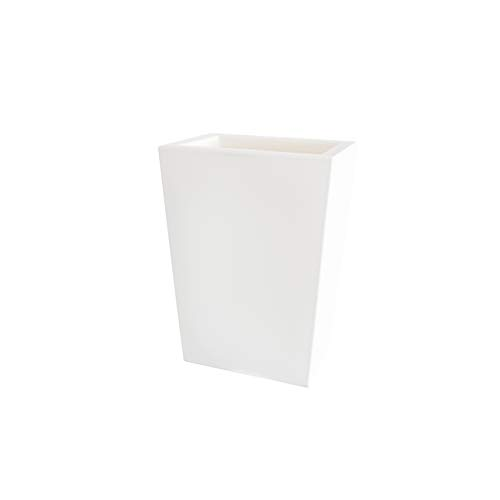 Teraplast Schio Cassa Alta 50cm Fioriera, Plastica 100%, Bianco, 50 cm