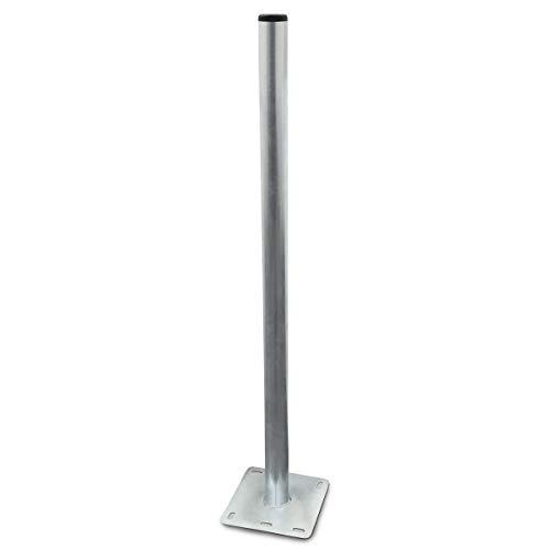 Mastfuss Standfuss 1m Mast und Mastfuß aus Stahl verzinkt Balkonbodenhalter Bodenhalter Sat Flachdach Antennen Mast 1 m Halterung Standfuß Ständer Boden Terrasse Balkon Halter Ständer 100 cm