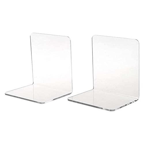 zhaita Sujetalibros de acrílico transparente en forma de L soporte organizador de escritorio soportes sujetalibros para estanterías, divisor de libros, soporte decorativo 2 piezas