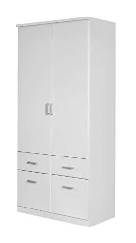 Rauch Möbel Bremen Schrank Drehtürenschrank Kleiderschrank in Weiß mit 4 Schubladen 2-türig, inklusive Zubehörpaket Basic 1 Kleiderstange, 2 Einlegeböden BxHxT 91 x 199 x 58 cm
