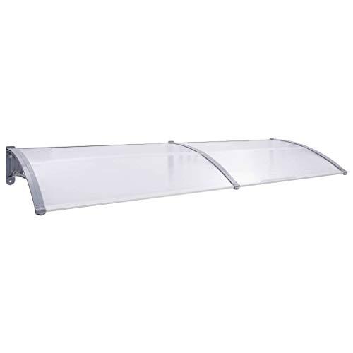 vidaXL Marquesina para Puerta PC Hogar Protección contra Lluvia Viento Intemperies Resistente Duradera Funcional Práctica Gris y Transparente 300x80cm