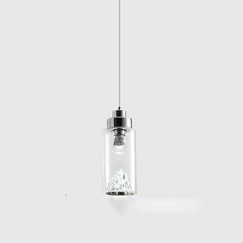 WEM Novedad Candelabro decorativo, Lámpara colgante moderna, Creativo, simple, Acabado de metal, Bola de cristal transparente, Pantalla redonda, Lámpara colgante de techo minimalista para dormitorio,