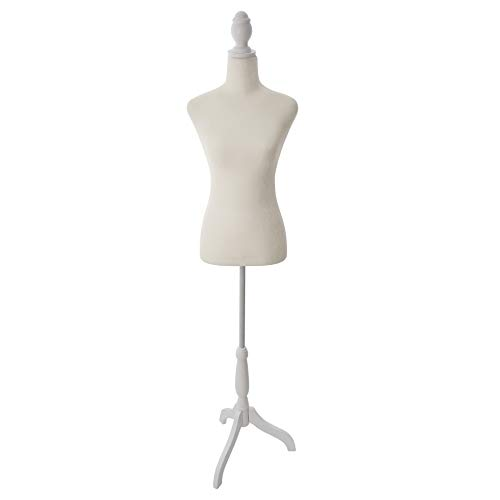 Beige Female Mannequin Torso Dress Form with Adjustable Tripod Stand Base Style