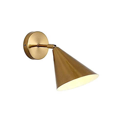 Yxxc Medieval Vintage Wall Lamp Industrial Brushed Brass Funnel Shade Wall Mounted Light Adjustable Indoor Wall Sconce Antique E27 Fixture for Vanity Mirror Living Room Bedroom Lighting