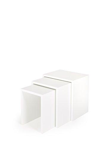 Hermes24 3er Set Beistelltische Blumenhocker Holz (3SETTISCH19) B/T/H 40 x 30 x 40 cm Weiß Matt