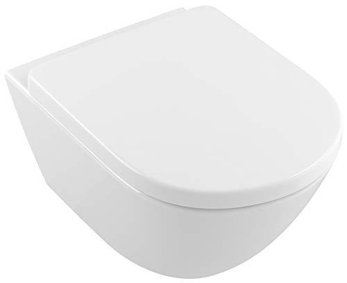 Villeroy & Boch Subway 2.0 WC-Sitz Comfort Scharniere aus Edelstahl, SoftClosing Funktion Weiß (9M86S101)