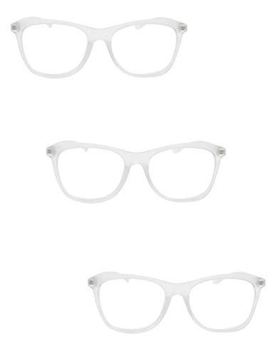 Empollón/Nerd con Estilo Retro Gafas de Lectura Con Extra Fuerte Todo Metal Primavera Bisagras En 5 Colores +1.0 +1.5 +2.0 +2.5 DX5 - Transparente