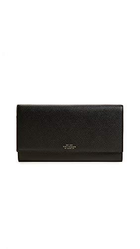 Smythson Women's Panama Marshall Travel Wallet, Black, One Size