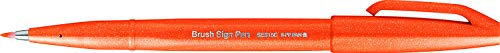 Pentel SES15C-F - Brush Sign Pen Faserschreiber, 10 Stück, orange