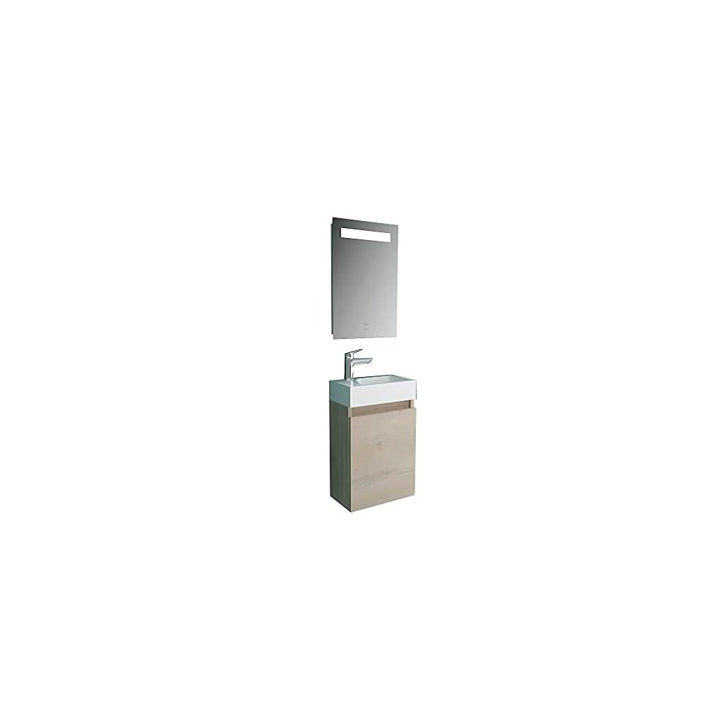 Alpenberger Meuble de salle de bain avec lavabo et meuble sous vasque Chêne/marron avec éclairage LED Largeur 40 cm