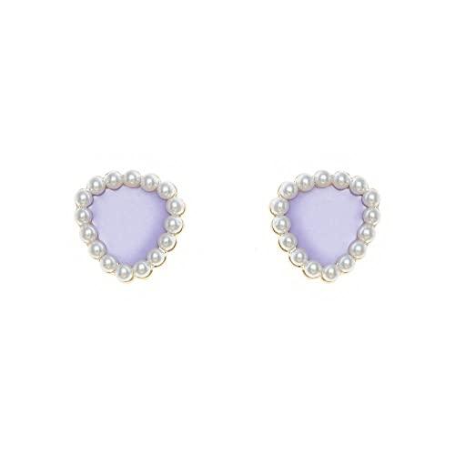 YFZCLYZAXET Pendientes Mujer 925 Pendientes De Plata con Forma De Triángulo De Aguja Perla Elegante Temperamento Pequeños Pendientes De Moda Pendientes Simples-Púrpura