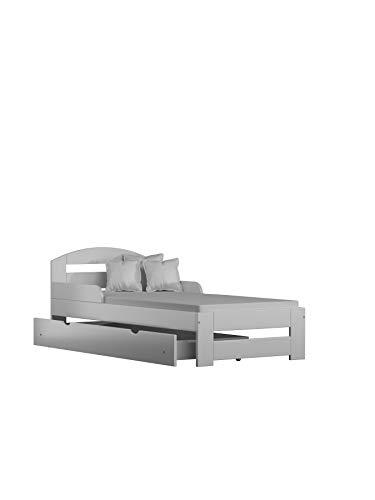 Children's Beds Home Letto Singolo in Legno massello - Kiko con cassetti Senza Materasso (140x70 + cassetti - Senza Materasso, Bianco)