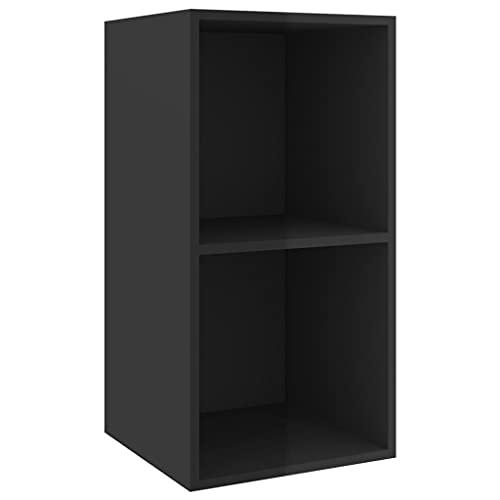vidaXL Mueble de Pared para TV Soporte Armario Aparador Estante Salón Sala de Estar Mobiliario Decoración Aglomerado Negro Brillo 37x37x72 cm