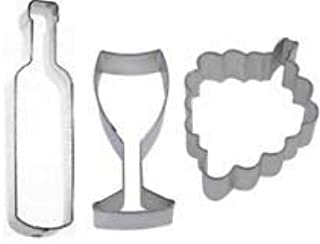 3 Piece Wine Bottle Glass Grapes Cookie Cutter