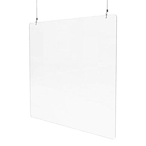 Sneeze Guard for Counter (38.5'W x 38.5'H), Hanging Plexiglass Shield, Ceiling Mount Clear Acrylic Plastic Barrier for Countertops, Desk, Cashier, Manicurist, Protection from Germs [Made in USA]