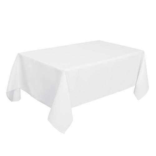 PiccoCasa Nappe rectangulaire – Résistant aux taches et aux plis Blanc – Nappe de table de salle à manger pour mariage, pique-nique, table intérieure et extérieure 150 x 310 cm