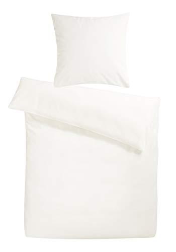 Carpe Sonno Biber Bettwäsche 155 x 220 cm Weiß - warme kuschelige Winterbettwäsche robuster Qualitäts Reißverschluss aus 100% Baumwolle Flanell - 2 teilig Winter Bettbezug Set mit Kopfkissen Bezug