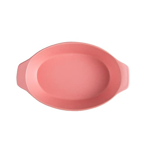 1 Piece Baking Sheet Baked Cheesecake Ceramic Plate Creative Binaural 750ml Pink