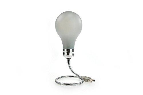 MUSTARD - Bright Idea USB Lightbulb I USB Lampe I USB-Zubehör I Glühbirne leuchtet ohne Strom im Dunkeln I Lampe mit USB-Anschluss I Flexibler Arm I Laptop-Lampe mit sanft blauem Licht - Weiß/Silber