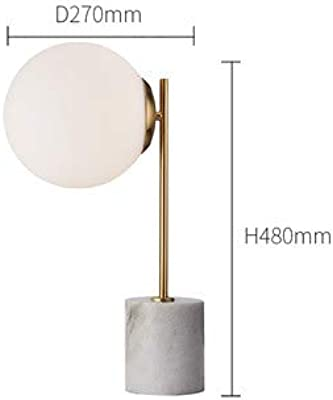 Simple Marble lamp Creative Glass Ball Bedroom Bedside Study-White 19 inch