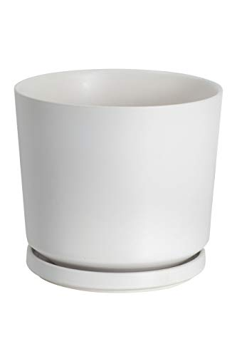Ekirlin Plant Pot Indoor 24cm Ceramic Flower Pots White Planter with Drainage Hole and Saucer