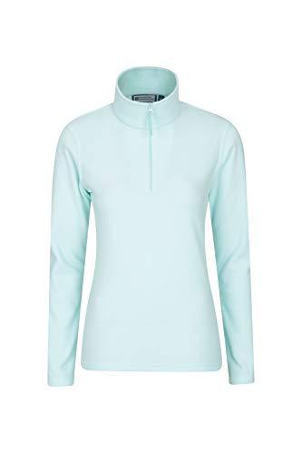 Mountain Warehouse Camber Damen-Fleece mit halbem Reißverschluss - atmungsaktiv, leicht, warm, fusselfrei, mit hoher Feuchtigkeitsregulierung - für den Winter Hellgrün S