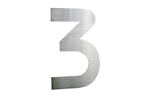 Hausnummer 3 Edelstahl V2A ITC Bauhaus Design rostfrei witterungsbeständig 20cm Höhe aus...