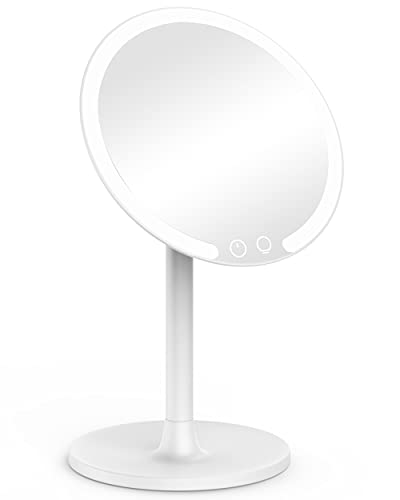 EASEHOLD Rechargeable Makeup Mirror with Lights, 56 LEDs Lighted Vanity Mirror, 3-Color Lighting, Stepless Dimming, 180 Degree Rotation, 2000mAh Battery Powered Travel Tabletop Cosmetic Mirror