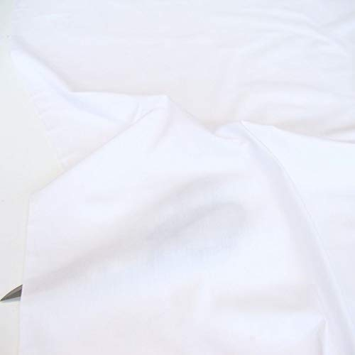 TOLKO Baumwollstoff Meterware, Feiner Weicher Batist als Mode- und Vorhang-Stoff zum Nähen und Dekorieren, 240cm Breit (Weiß)