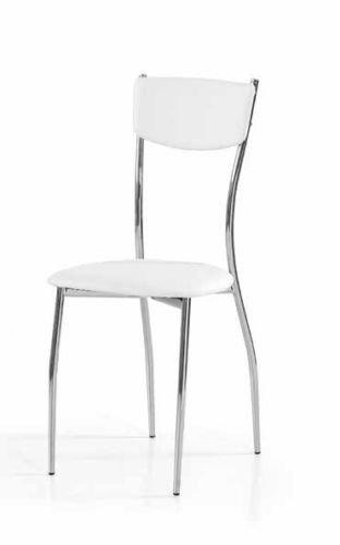 Legno&Design Lot de 2 chaises en acier chromé pour salon, cuisine, bar, simili cuir blanc
